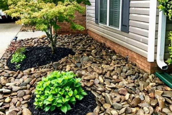 Flower bed decorated with rock and tree rings with freshly layed mulch.